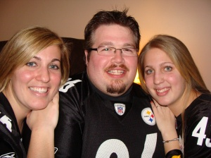 celebrating the Steelers 6th Super-Bowl victory! (me, Randy, and my sister)